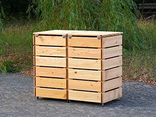 2er Mülltonnenbox / Mülltonnenverkleidung 240 L Holz, Transparent Geölt Weiß - 4
