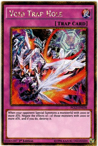 Yu-Gi-Oh! - Void Trap Hole (PGL3-EN038) - Premium Gold: Infinite Gold - 1st Edition - Gold Secret Rare