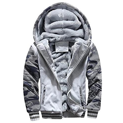 BaZhaHei Herren Fleece-Innenseite Übergangsjacke Winter Warm Fleece Kapuze Reißverschluss Outdoor Pullover Jacke Outwear Mantel Kapuzenjacke Sweatjacke Freizeitjacke Thermojacke