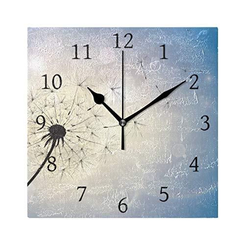 Ahomy Wanduhr Pusteblume im Sommer Breeze Home Art Decor Antiticking Ziffern Uhr für Zuhause Büro Schule