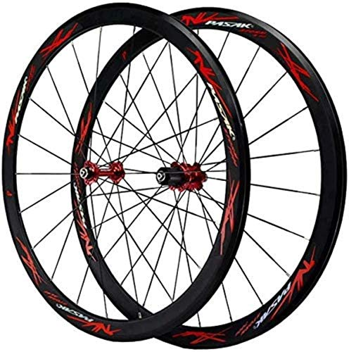 ZSY Wheels Road bike road bike 700C, road bike wheelset V brake double-walled alloy wheel 40mm BMX bike rim Quick release for 7 8 9 10 11 12 speed 1890g (Color : A)