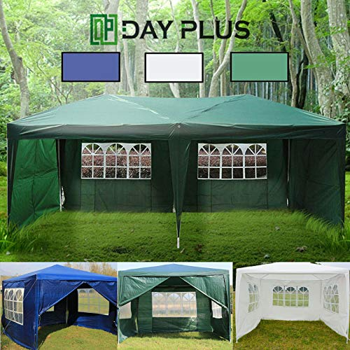 AutoBaBa 3x3m Waterproof Gazebo Marquee Canopy Awning Tent for Party Wedding Garden Outdoor Camping With Zip Up Side Panel (Green)