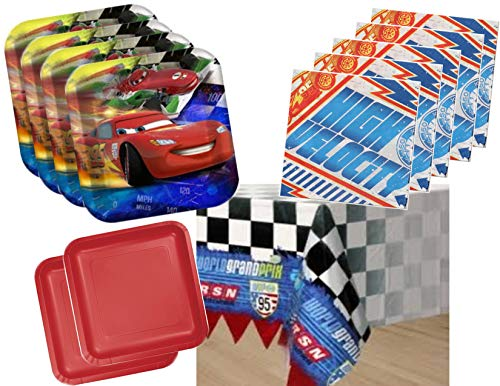 Disney Cars Lightning McQueen Plates and Napkins Party Supplies for 16 Guests - Bonus Plastic Tablecover