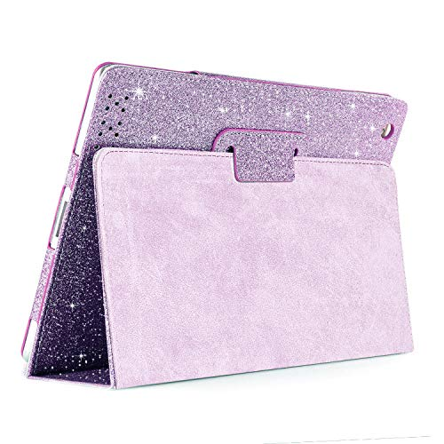 iPad 2 3 4 Glitter Leather Case,FANSONG Sparkle Bling Magnetic Smart Protective Cover Case Girls [Folio Stand,Sleep/Wake up] for Apple iPad 2nd 3rd 4th Generation (9.7-inch Old iPad Edition),Purple