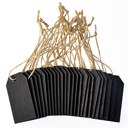 48 Pcs Chalkboard Tags, Topbuti Hanging Wooden Mini Chalkboard Signs Decorative Labels, Erasable Hanging Chalkboard Tags with Twine, Name Tags Price Tags Message Tags for DIY Craft Wedding Party Decor Photo #5