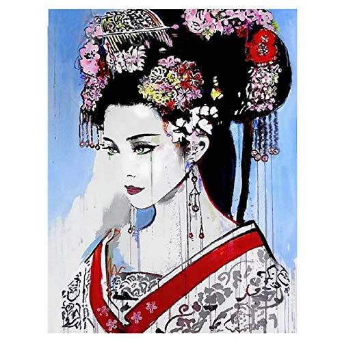 Diy 5d pintura de diamantes geisha japonesa kit de bordado de diamantes redondos completos kimono mujer punto de cruz decoración del hogar regalo