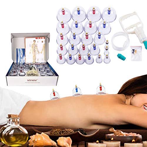Hijama - 24 juegos de ventosas al vacío, juego de ventosas para el hogar de la antigua Grecia para aliviar el dolor, disipar la humedad, la belleza y la estimulación del punto de acupuntura
