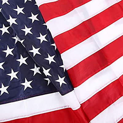 SIX FOXES American Flag 3x5 ft, Heavyweight US Outdoor Flag - UV Protected, Embroidered Stars, Sewn Stripes, Double-Stitched Edges, Brass Grommets Tough Durable Fade Resistant All Weather US Flags