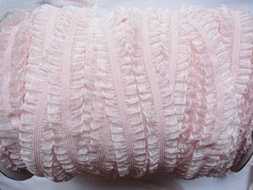 YYCRAFT 5/8' Double Ruffle Elastic Trim,10y DIY Lace Trim Ribbon for Sewing/Decoration/Hair Ties Headbands Craft(Baby Pink)