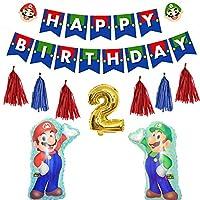 Fun+ スーパーマリオ 誕生日 飾り付けセット かわいいキャラクター HAPPYBIRTHDAYガーランド 数字バルーン タッセルガーランド マリオ風船 2歳誕生日 子供