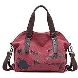 Pinle Bolso de Las Mujeres, Casual Hobo Canvas Daily Canvas Crossbody Bolsa de Asas para Compras y Bolso Multifuncional de Viaje (Color : Red)