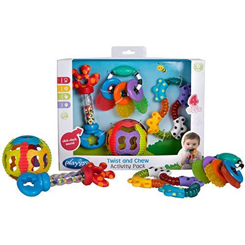 Playgro Set de Juegos Educativos con Sonajeros y Mordedores, 4 Piezas, A partir de los 6 meses, Multicolor, 40197