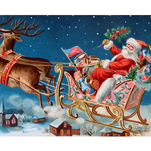 N/O Olieverfschilderij door cijfers Kits Kerstman en elanden slee DIY Digitale Olieverfschilderij Canvas Kits voor kinderen Volwassenen Beginner Tekenen Kunstwerken Schilderijen 16x20inch Frameless