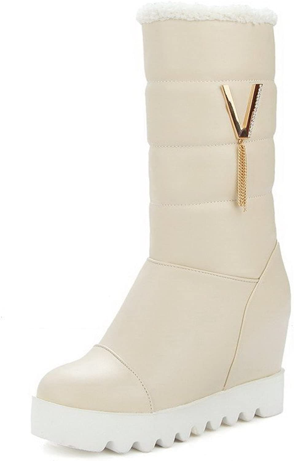 WeenFashion Women's High-Heels Soft Material Mid-Top Solid Pull-On Boots
