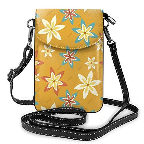 Lsjuee Monedero de cuero para teléfono, flores y rayas, pequeño bolso bandolera, mini bolso para teléfono celular, bandolera para mujer