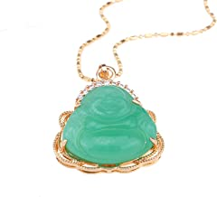 CRISTORE 14k Gold Plated Green Jade Gemstone Smiling Buddha Statue Pendant Lucky Necklace