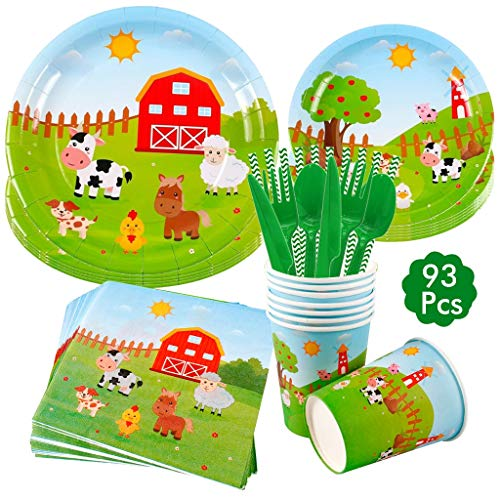 DreamJing 69 Pcs Farm Animals Party Tableware Set, Animal Paper Plates for 8 Party Tableware Paper Cups Plates for Farm Themed Birthday Baby Shower Party Decorations