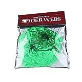 CROWNXZQ Tela de araña de Halloween Tela de araña súper elástica de Halloween con 4 arañas de plástico Falsas para decoración de Interiores y Exteriores Suministros para Fiestas