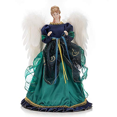 iPEGTOP 16 inches Angel Tree Topper with Luxury Green Dress Blue Ruffle, Christmas Treetop Flying Angel Winged Diva Fairy Goddess Figurine Holiday Ornament