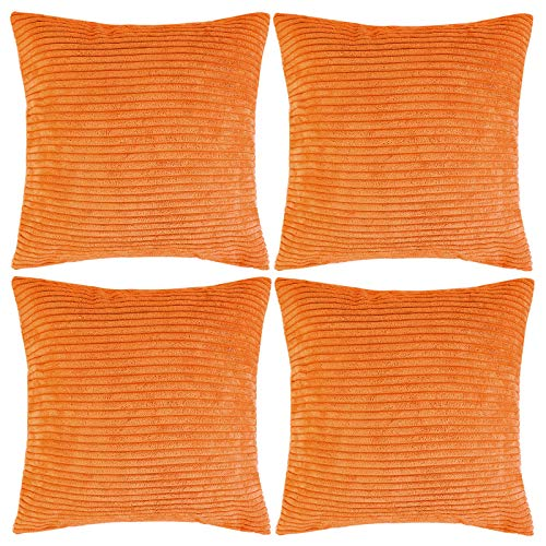 Aneco Pack of 4 18 x 18 Inches Striped Corduroy Pillow Cases Decorative Square Throw Pillow Covers Corduroy Cushion Covers for Sofa, Chair, Bedroom, Orange