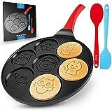Zulay Pancake Pan With 7 Animal Face Designs - Round Ceramic Pancake Pan Nonstick Surface & Comfortable Handle - Mini Pancake Pan Griddle With 2 Bonus Spatulas