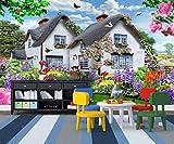 Papier peint mural bleu ciel multicolore petit jardin chien paysage enfants fond...