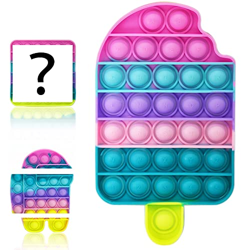 WSYLEN 3 PCS Ice Cream Pop Fidget Toy,3 Packs Push Pop Bubble Fidget Ice Cream Sensory Toy,Ice Cream Poppet Popper Fidget Shaped Pop Stress Relief Toy for Boys and Girls