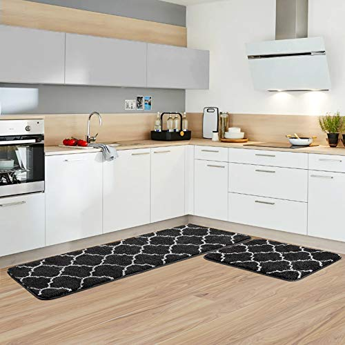 "Kitchen Rug Set Microfiber Moroccan Trellis Kitchen Mats Non-Slip Soft Super Absorbent Bath Doormat Runner Carpet Set,Washable for Kitchen,Floor Home,Office,Sink,Laundry,17""x48""+17""x24"",Black Nebraska"