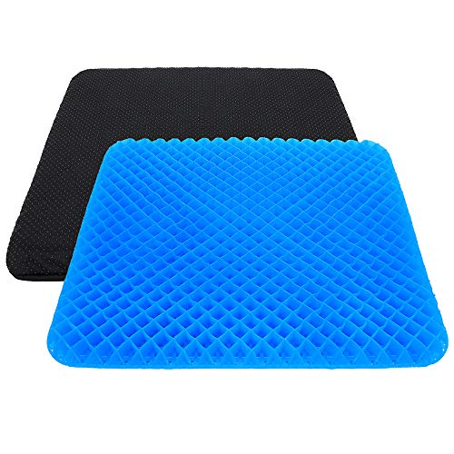 Gel Seat Cushion, Double Thick Large Seat Cushion Honeycomb Design Seat Cushion with Non-Slip Seat Cover for Relief Back Pain, Gel Cushion for Home Office Chair Wheelchair (17.32x16.14x1.57 inch)