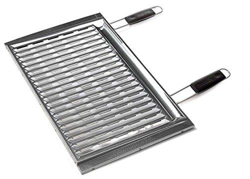 Sunday grill - Griglia Biologica In Acciaio Inox Con Manici Inox - cm 67X40