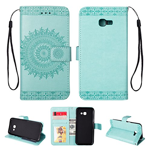 FOLICE Galaxy A5(2017) Case, Mandala Flower Pattern [Shock Absorbent] PU Leather Kickstand Wallet Cover Durable Flip Case for Samsung Galaxy A5(2017) (Mint Green)