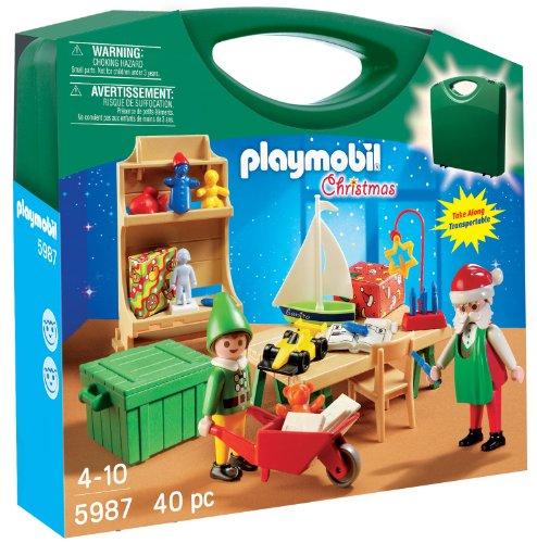 Playmobil Santa\'s Workshop Carrying Case 5987 - Weihnachtsmann & Elf im Trage...