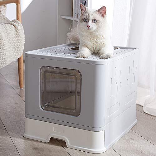 Felicidad Caja de Arena para Gatos Plegable para El Hogar, Puerta Doble, Inodoro para Gatos a Prueba de Salpicaduras y Prueba de Olores