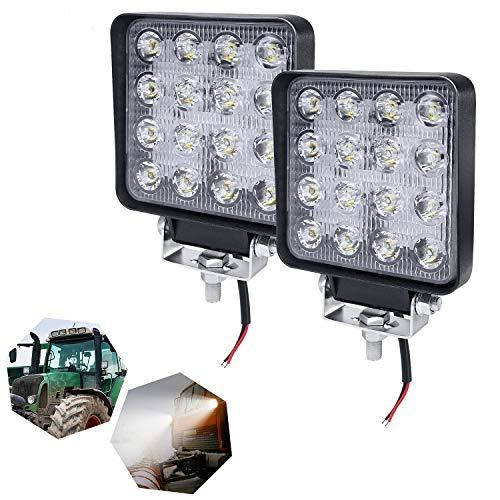 HENGMEI 48W LED Arbeitsscheinwerfer Reflektor Scheinwerfer Arbeitslicht LED Zusatzscheinwerfer Light Flutlicht für Offroad Agrar Traktor (2X48W,Quadrat)