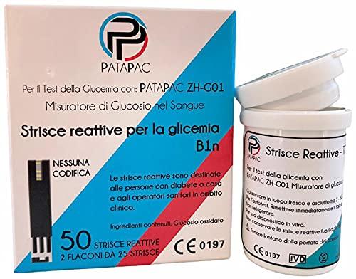 Strisce Glicemia confezione da 50 strisce reattive per misurazione zucchero nel sangue da usare con Glucometro misuratore diabete – PataPac dispositivo