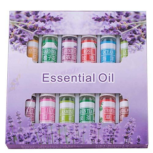 Aceite Esencial, Limpieza Diaria Purifica y Refresca el Aire Aceite Esencial Natural, Útil Aromaterapia Alivia la Fatiga Práctico para Armario 12Pcs Difusor 5ML