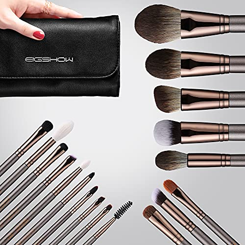 Professional Makeup Brush Set,Eigshow Makeup Brushes Perfect for Foundation Face Powder Blending Blush Bronzer Eyeliner Eye Shadow Brows with Case(PRO...