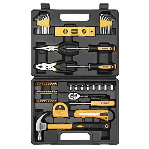 Juego de herramientas de 65 piezas DEKO Kit de herramientas de mano para el hogar en general con caja de almacenamiento de plástico