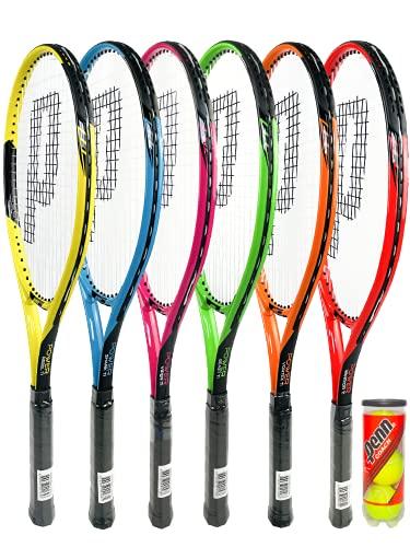 Prince Power Ti - Raqueta de tenis para adultos, incluye funda protectora con correa de transporte y 3 pelotas de tenis Penn (varias opciones de modelo) (Rebel Ti (amarillo/negro)