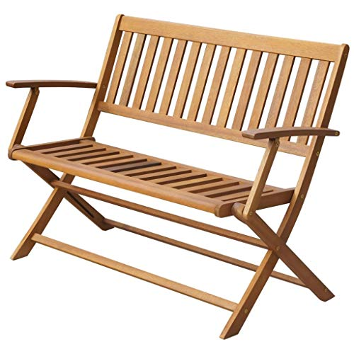 Festnight Gartenbank | Garten Klappbank | Holz Parkbank | Terrasse Holzbank | Outdoor Sitzbank | Balkonbank | Massives Akazienholz 120 x 60 x 89 cm
