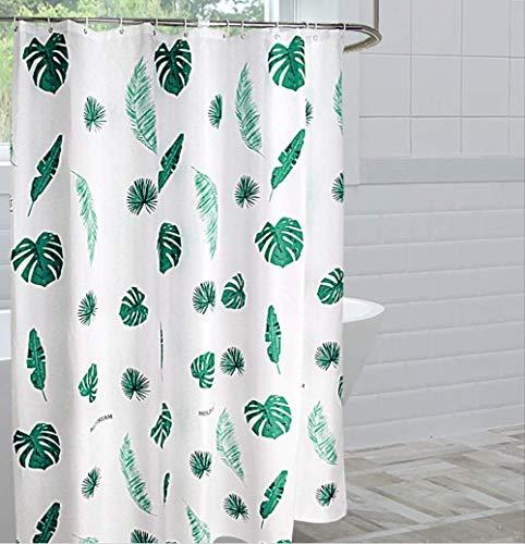 Douchegordijn, [groene bladeren] schimmelwerend, waterdicht, extra lang badgordijn met 12 haken, 180 x 180 cm drop(72 x 72 inch) 240 * 200 A