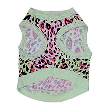 BBEART Vêtements pour animaux domestiques Imprimé léopard T-shirt en coton Gilet Vêtements Printemps Été Respirant Harnais Costumes pour petits chiens, XS, aqua