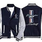 Sweat-Shirt pour Hommes Veste Baseball Uniforme Fit pour Ford Mustang Imprimé Veste De Sport à Manches Longues à Manches Longues - Cadeau De L'adolescence Blue Gray-X-Large