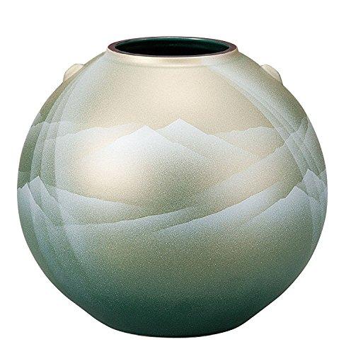 Japonés tradicional Kutani-yaki cerámica jarrón nº 7jarrón plata Sol sobre las montañas K4–1383