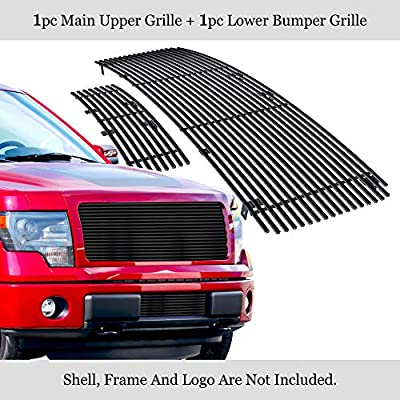 APS Compatible with 2009-2014 F-150 Stainless Steel Black 8x6 Horizontal Billet Grille Insert Combo N19-J41668F