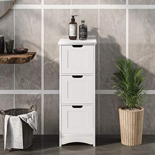 Kslogin Badezimmerschrank mit 3 Schubladen, Schmaler Badschrank, Beistellschrank Kommode für Wohnzimmer, Küche, Flur. Tief Freistehend, Weiß, 30x30x82cm