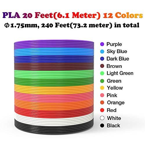 Tipeye 3D Stift Nachfüller 12 Farben 6,1 M, 3D Stifte Filament 1,75mm, 3D Stift Farben Set für ODRVM, Uvistare, Sunlu, PLUSINNO, QPAU, Lovebay, Nexgadget und dikale 3D Druckstift - 3