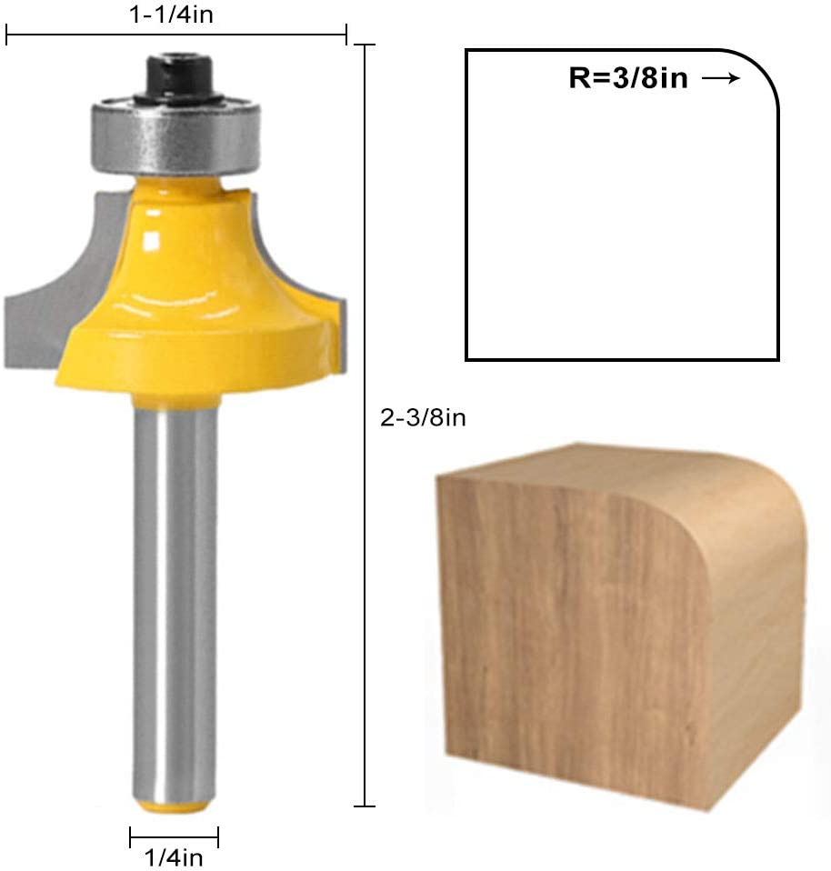 4-Piece Router Bit Set 1//4 Inch Shank Set Routers for Woodworking,Trimming Machine Accessories 1//2 Inch 3//8 Inch 1//4 Inch 1//8 Inch Radius