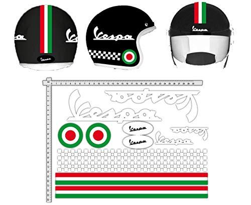GamesMonkey Adesivi Casco Kit Vespa Bianco Strisce Italia Helmet Vinile Lucido