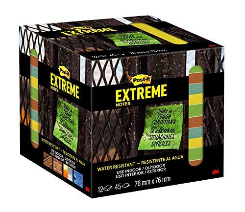 Post-it Extreme Notes - Cuaderno de notas (12 unidades, 76 x 76 mm), color amarillo, verde y naranja